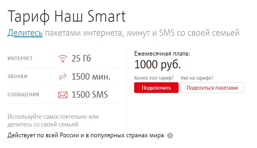 """Тариф МТС """"Наш Smart"""""""